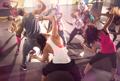group of dancer at Zumba fitness training in studio